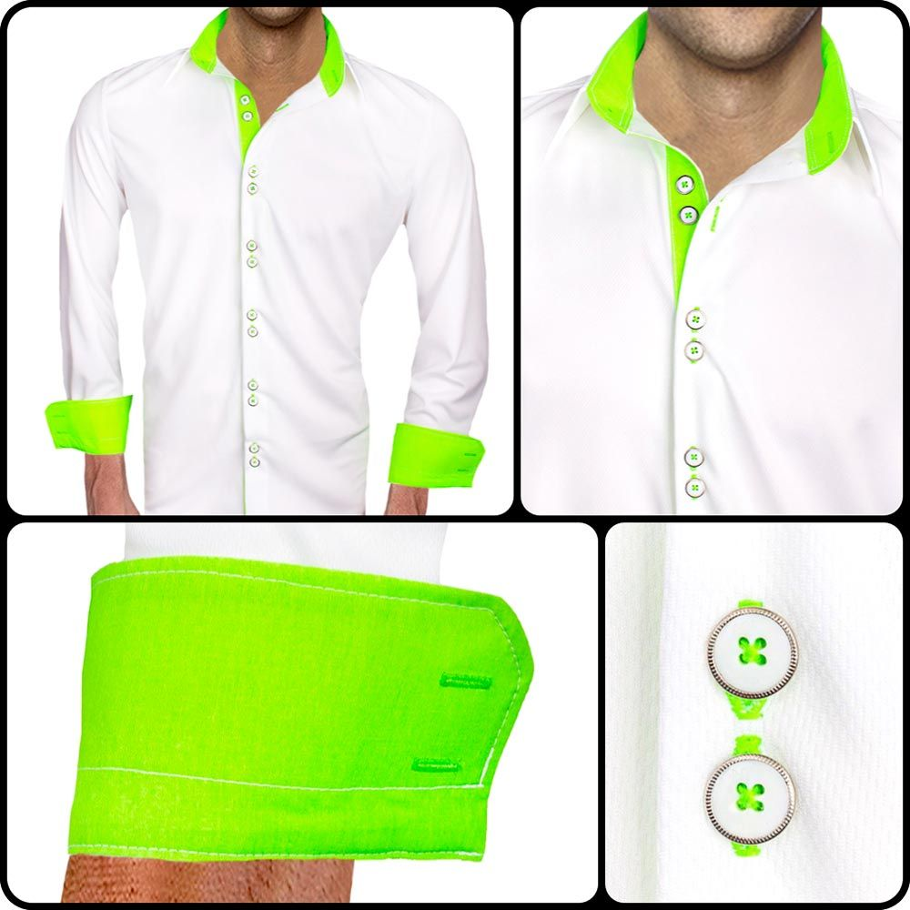 Black with neon green dress shirts these dress shirts are made from