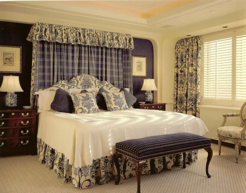 French Country Decor For Bedroom With Striped Curtain Wall And