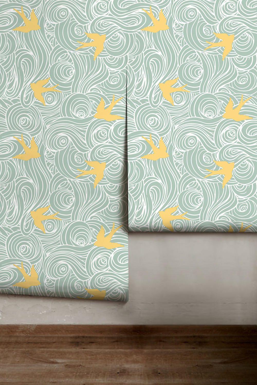Take Flight Sea and Yellow Peel 'n Stick Wallpaper or ...