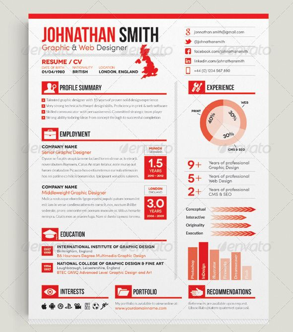 Resume with infographics stationary Pinterest Template - resume template design