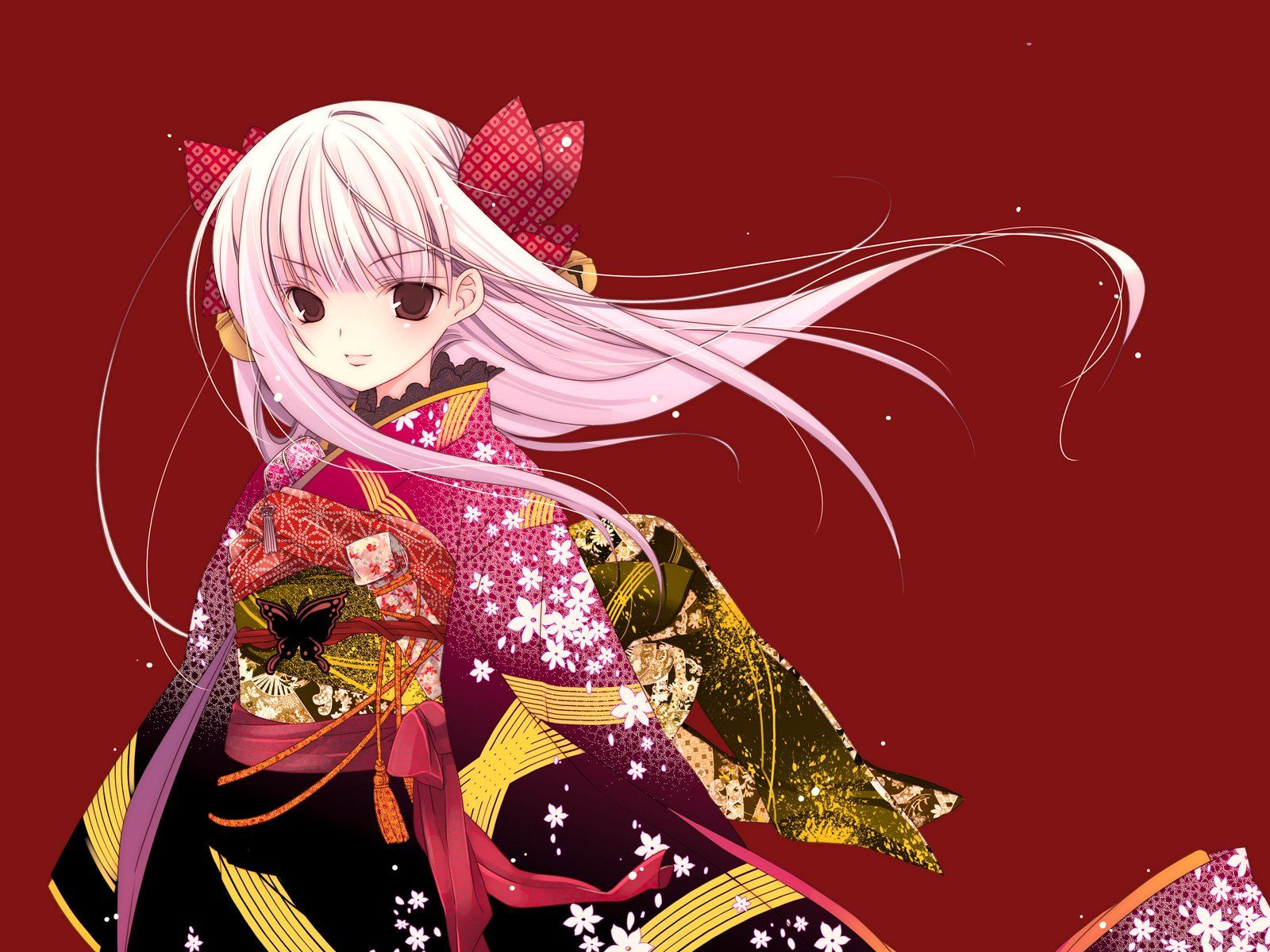 Anime Japanese Wind Girl Dress Wind Long Hair Kimono Red