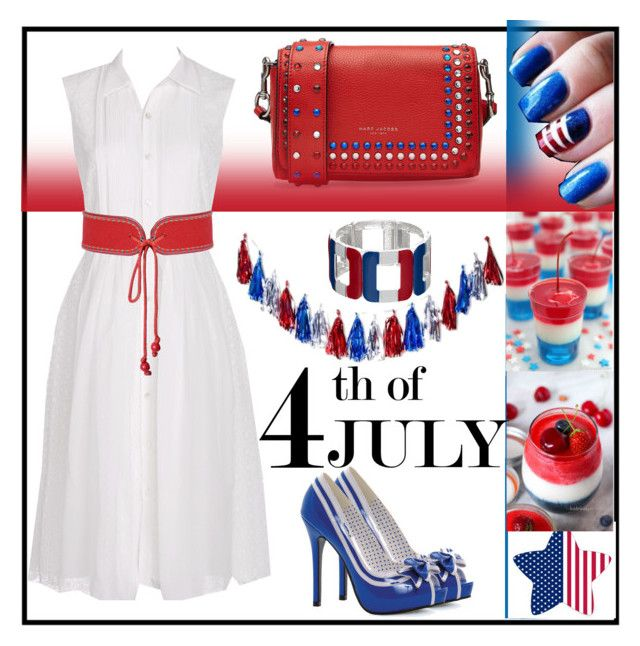 """""""Happy 4th Of July!"""" by jay-sigala on Polyvore featuring Marc Jacobs, Diane Von Furstenberg, Yves Saint Laurent, Ellie, redwhiteandblue and july4th"""