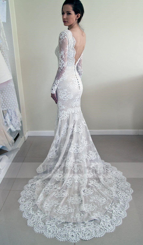Back out wedding dresses  Alluring Scoop Neckline Long Sleeves Lace Mermaid Wedding Dress