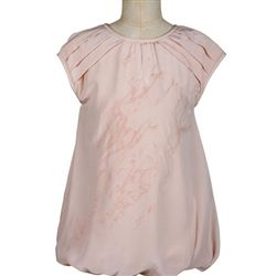 Pale Cloud - Silk Crepe Pleated Peach Girls Dress