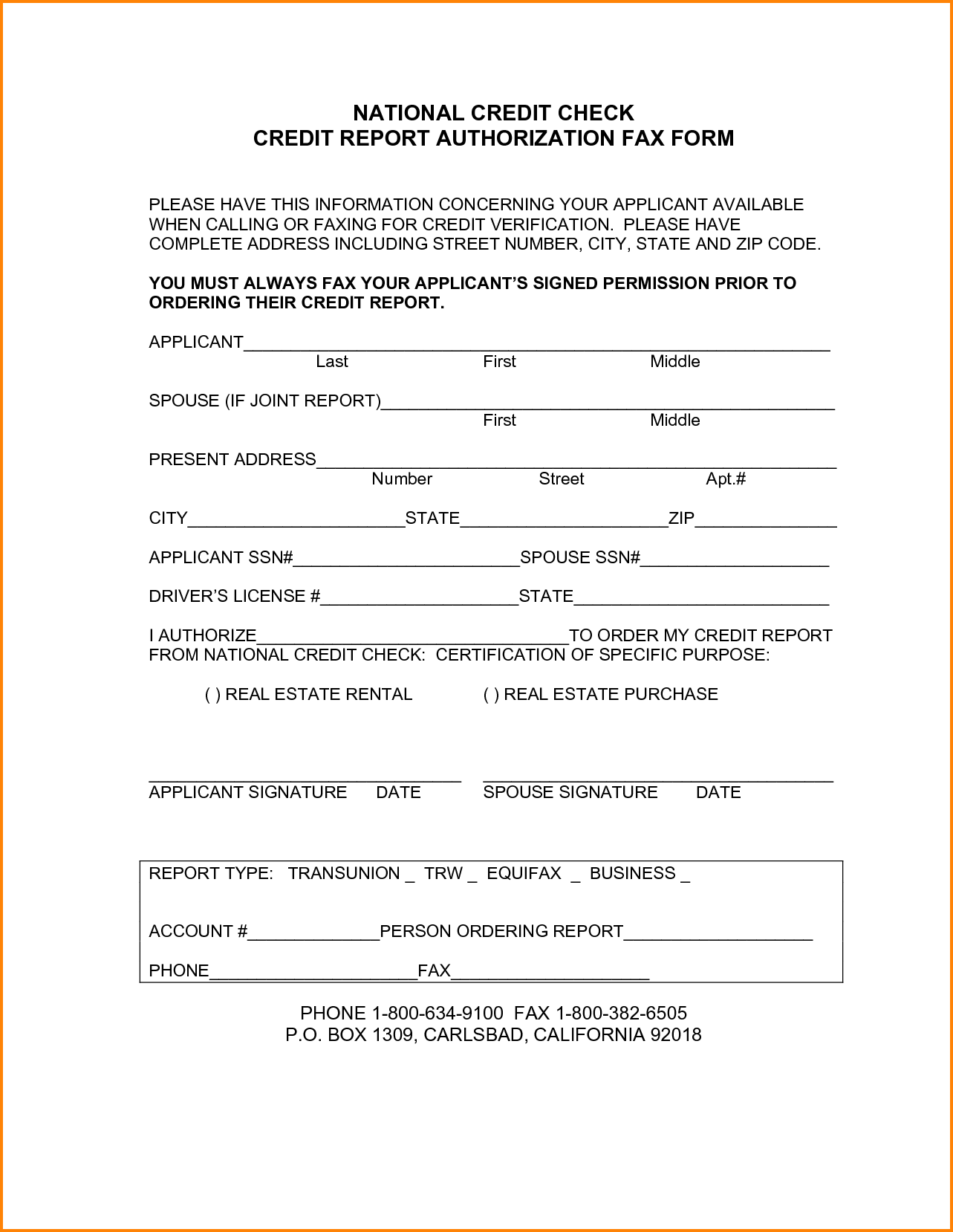 National Credit Check Report Authorization Fax Form Gabyion Card