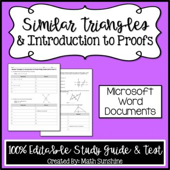 Similar Triangles & Intro to Proofs Editable Study Guide ...