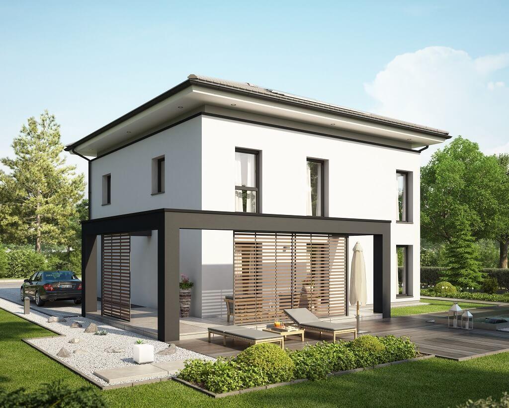 stadtvilla concept m 193 bien zenker haus bauen grundriss modern 4 zimmer walmdach fassade. Black Bedroom Furniture Sets. Home Design Ideas