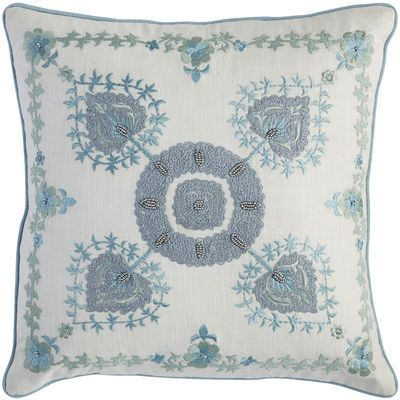Beautifully beaded, our embroidered pillow features a traditional medallion design on a white cotton front, with a cotton/linen blend on the reverse. It also has a zipper closure offering easy access to a soft, shapely poly insert that keeps things comfortable.