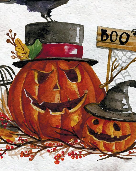 Halloween poster with 2 scary pumpkins and BOO sign would make the - decorating for halloween party