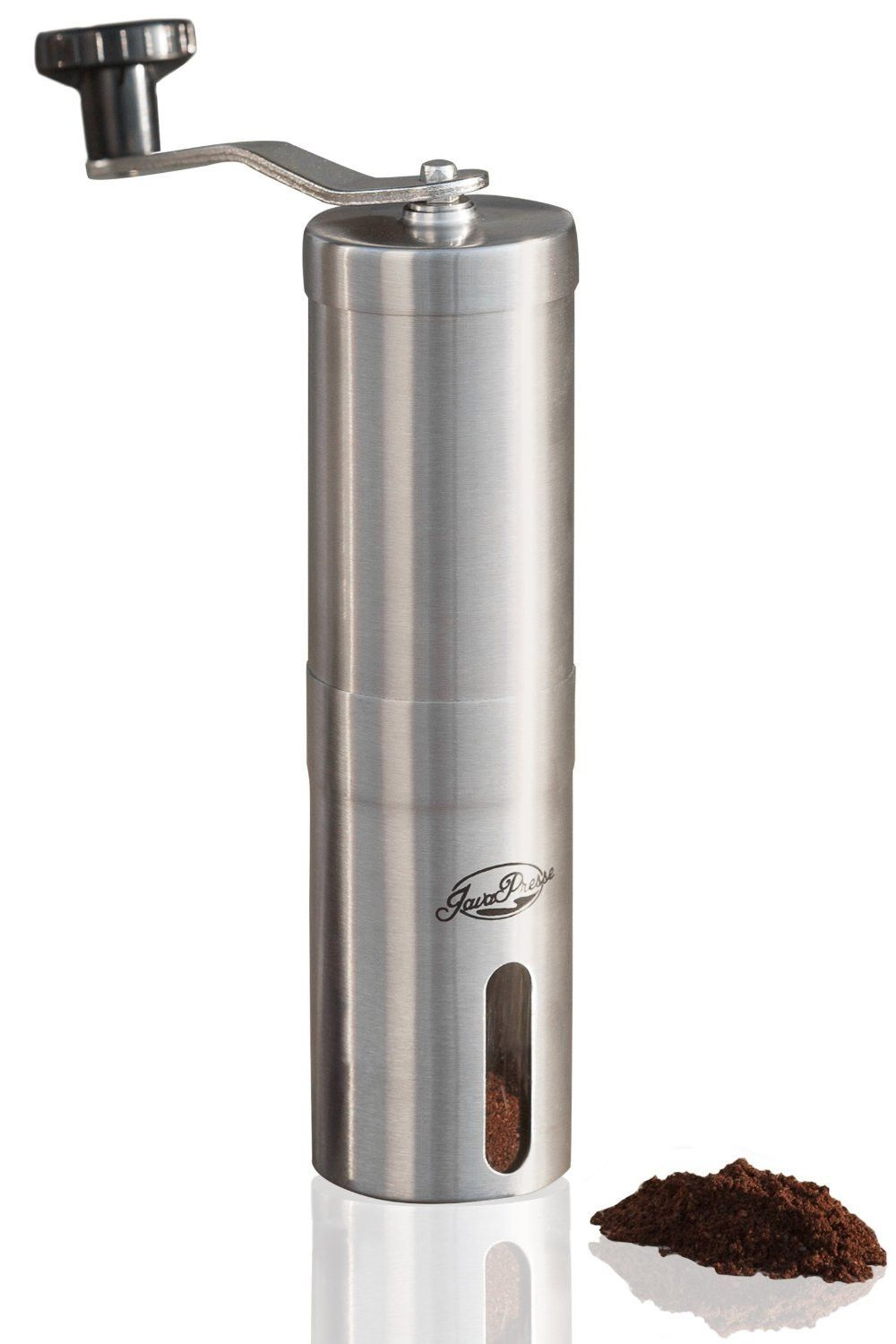 JavaPresse Manual Coffee Grinder Conical Burr Mill for Precision Brewing Brushed Stainless Steel