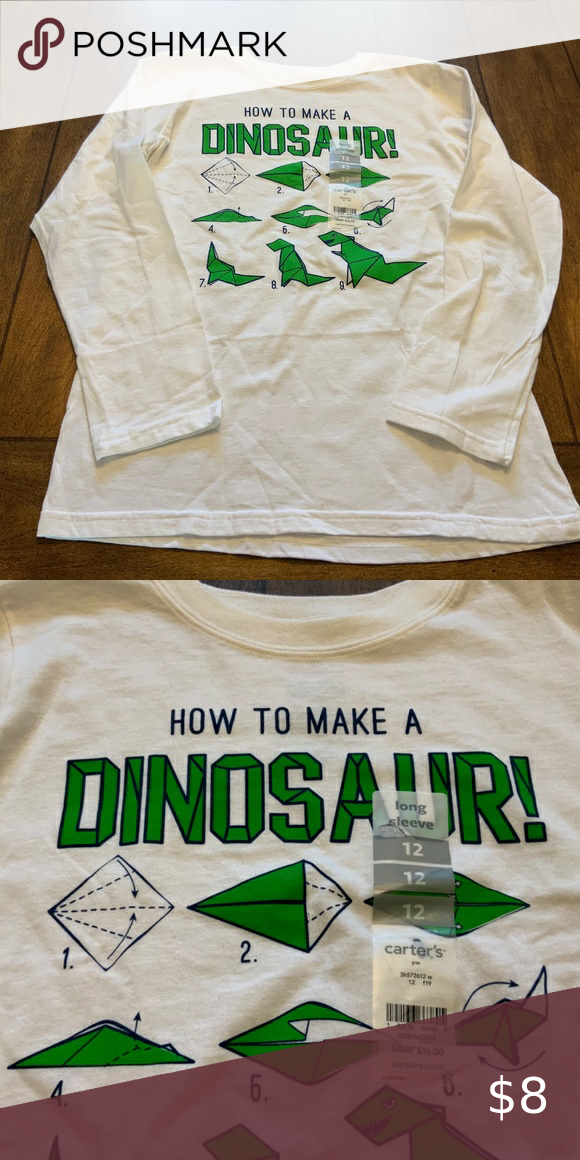 Photo of Carters Dinosaurier-Origami-T-Shirt. Größe 12. NWT Langärmliges Dinosaurier-Origami-T-Shirt ….