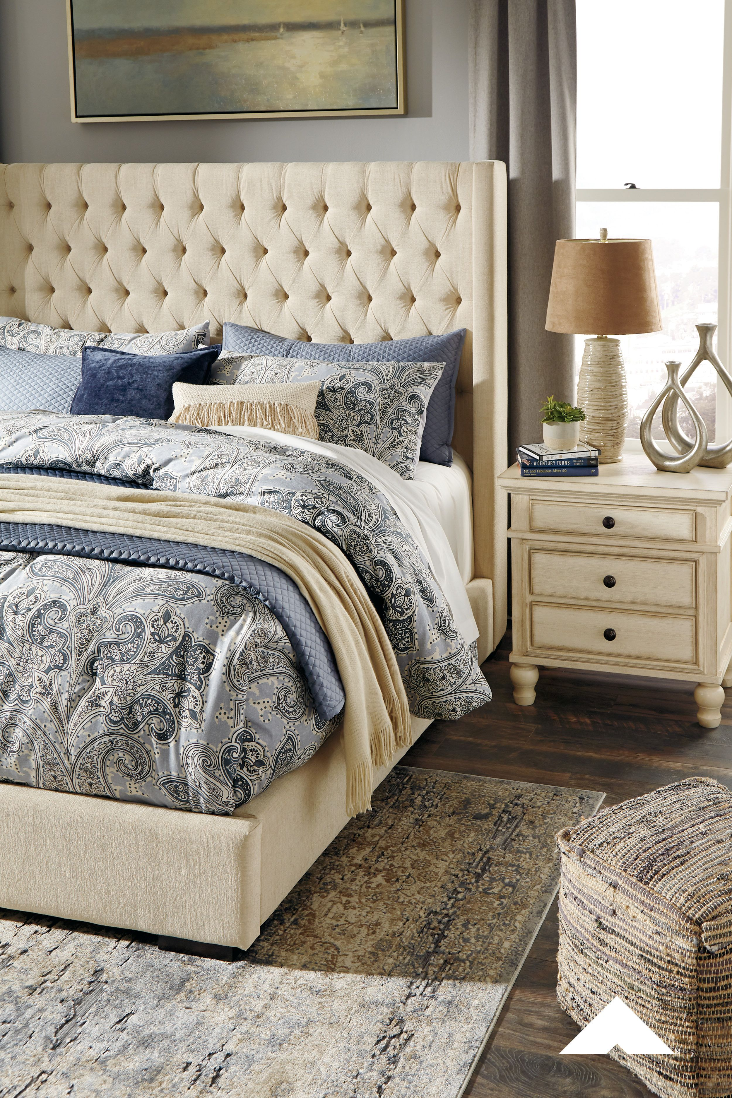 Norrister Beige Headboard Mansion Wing Bed With Luxurious