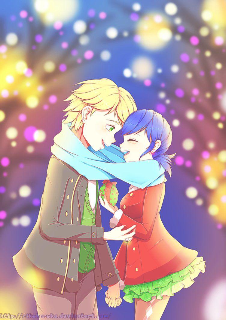 Cute Adrinette Christmas date (by Rikuharuka, Miraculous Ladybug ...