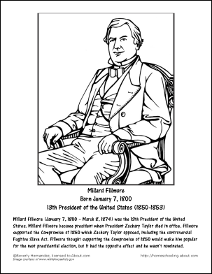 millard fillmore worksheets and coloring pages millard fillmore coloring page