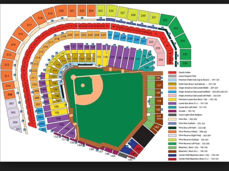 Giants Seating Chart Giants Tickets Giants Stadium Sf Giants