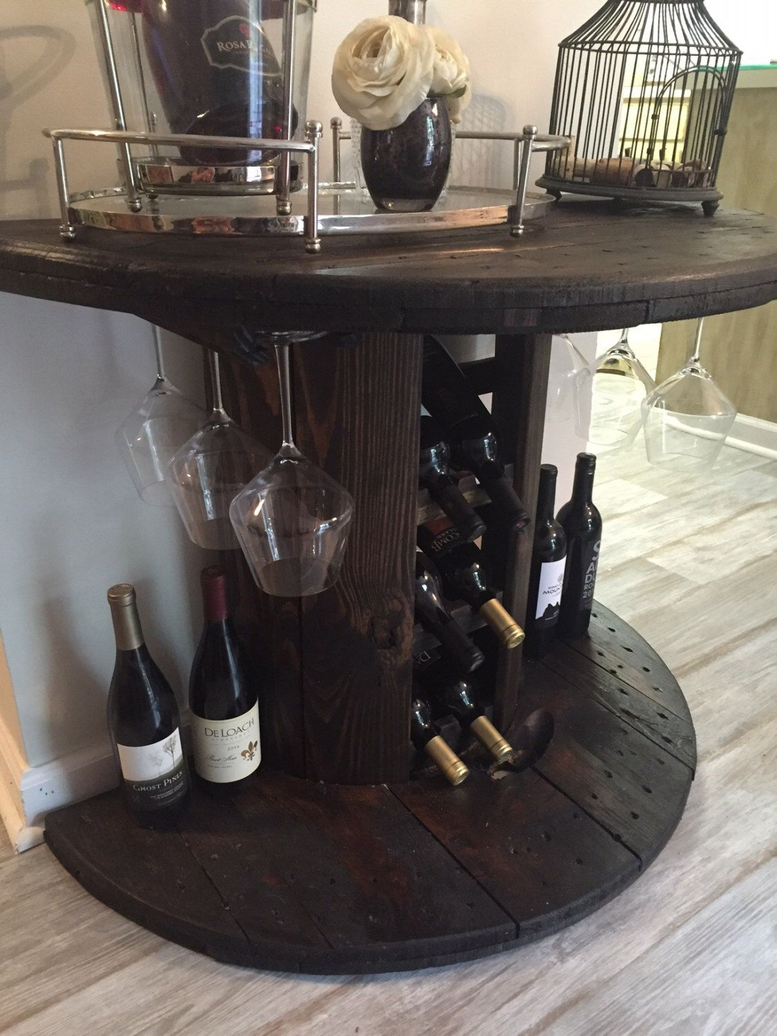 How to make a sofa table from cable wood reel - Reclaimed Wooden Cable Spool Wine Bar Wine Rack Rustic Furniture Industrial Wine Rack Wine Storage Wine Bar Cable Spool