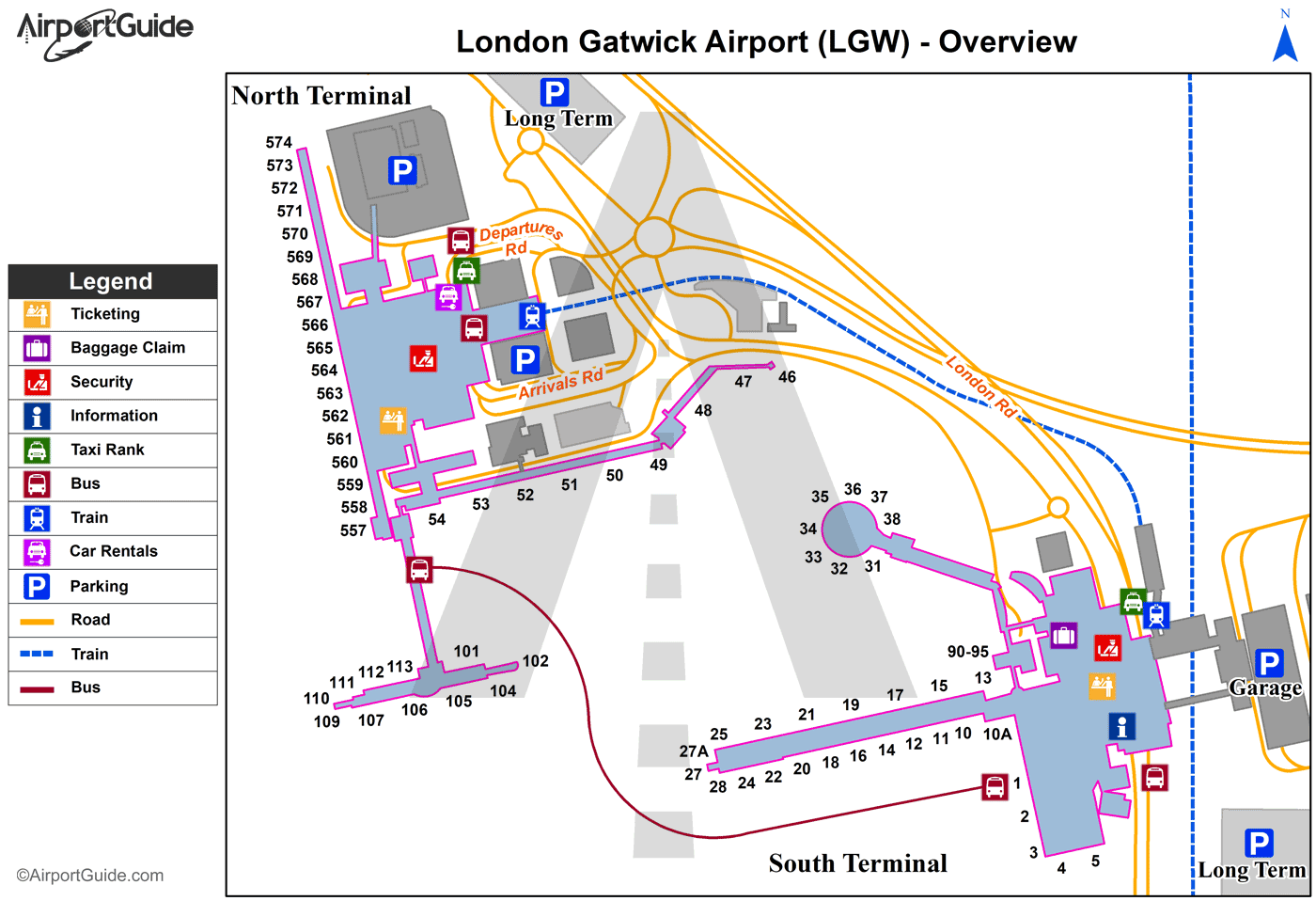 gatwick map north terminal London Gatwick Airport Map gatwick map north terminal