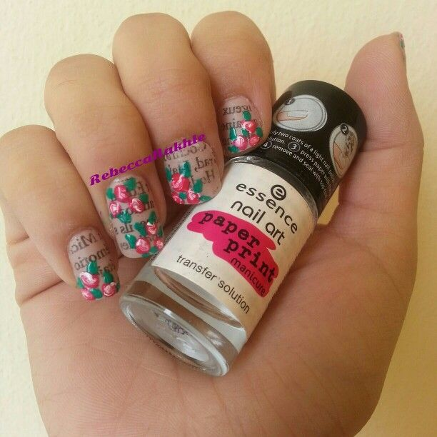 Essence nail art paper print manicure best nail 2017 newspaper nails with some roses the help of essence nail art prinsesfo Image collections