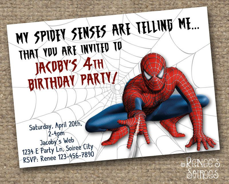 graphic relating to Printable Spiderman Invitations referred to as SPIDER Hero Birthday INVITATION - Printable Invite
