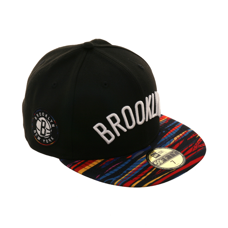b6e429a48827 New Era 59Fifty NBA City 2018 Brooklyn Nets Hat -2T Black, Multi ...