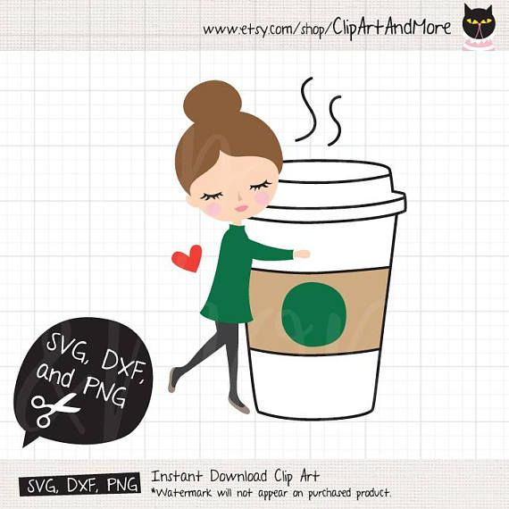 Download Coffee Lover SVG DXF, I Love Coffee, Woman Hugging Coffee ...