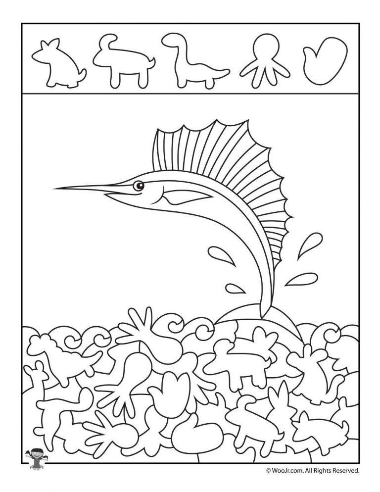 Ocean Hidden Pictures Printables to Teach Shape