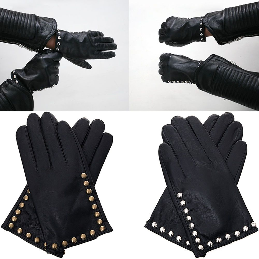 Mens Winter Warm Leather Gloves Studded Metal Rocker Biker