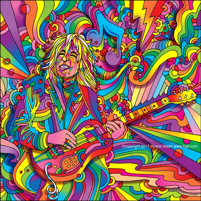 Psychedelic Pop Art Guitar Player My Art Art Canvas