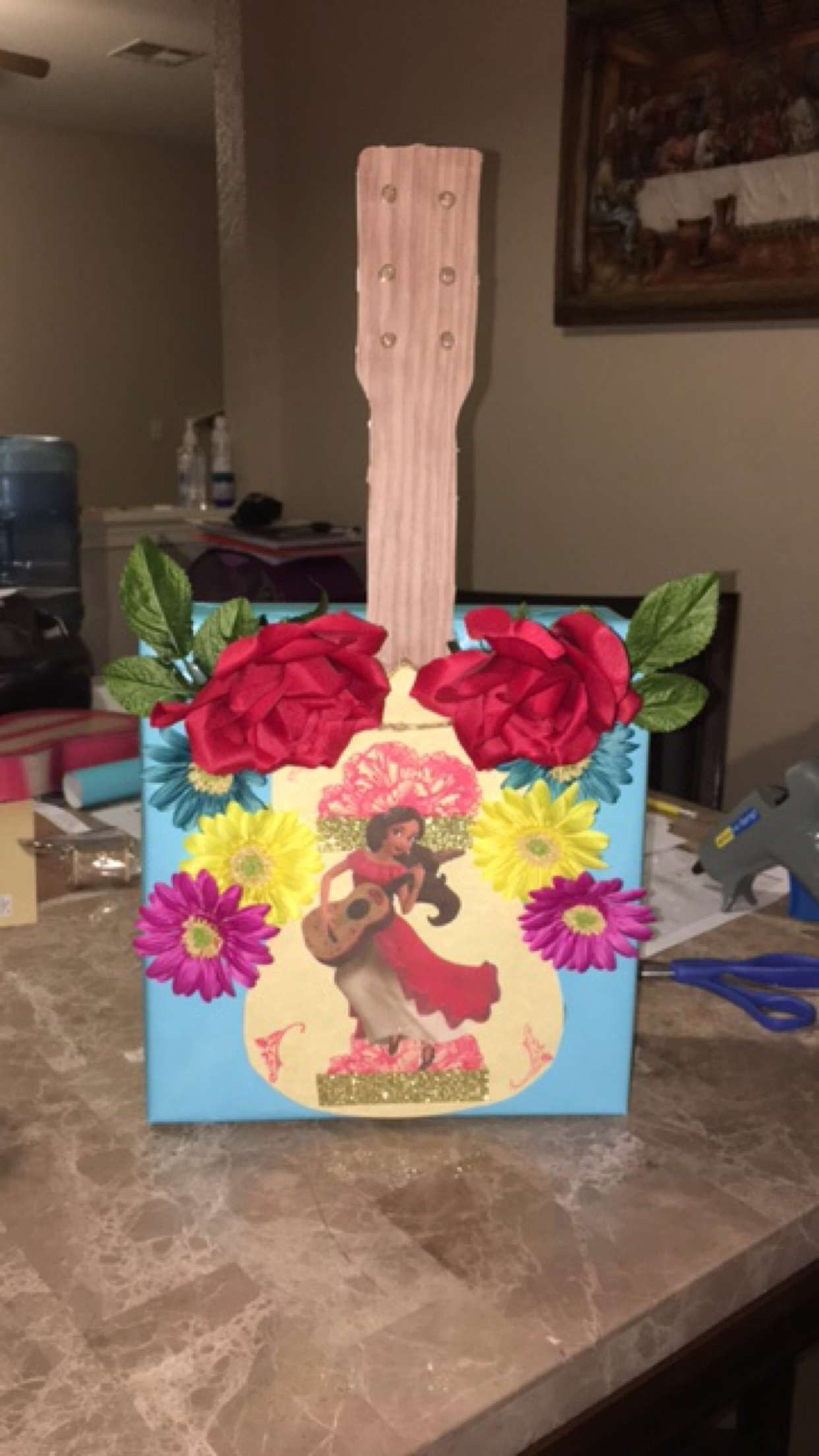 Birthday card box holder (also used as her Valentine's Day