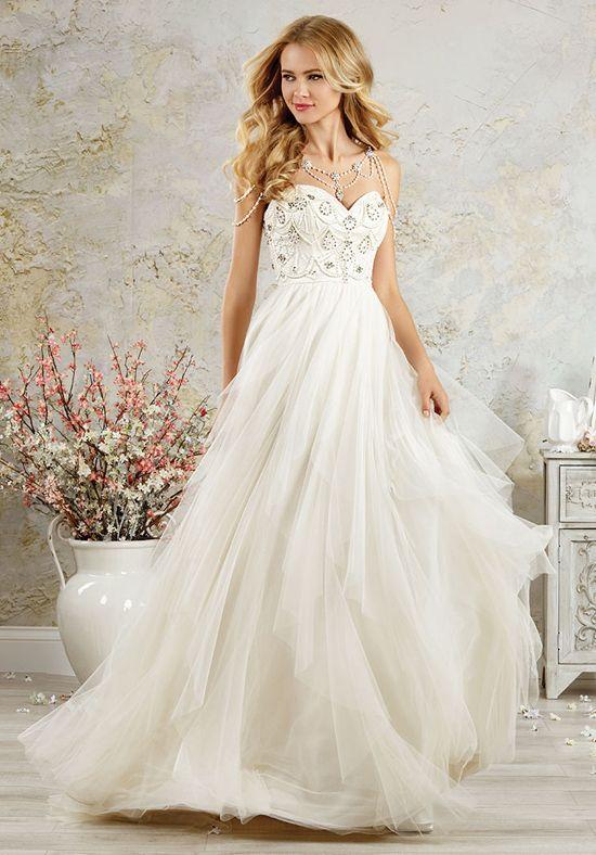 Romantic soft net A-line wedding dress with a sweetheart neckline ...