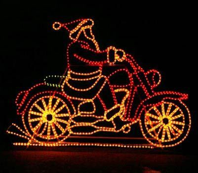 outdoor christmas decorations display santa on a golf cart reindeer or winnie the