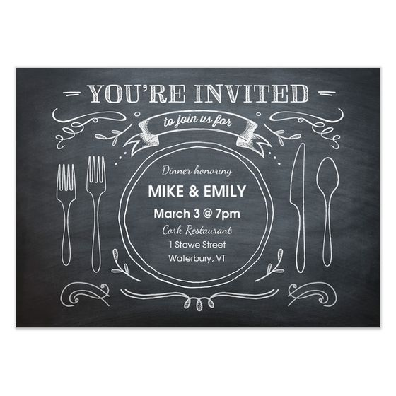 Renee Pulve  Chalkboard Dinner Party  Invite And Ecard