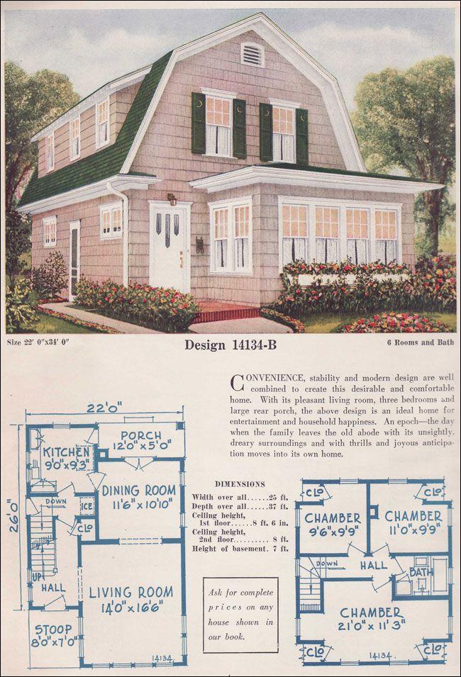 Dutch Colonial Revival House Plan Design 14134 B 1925 C L
