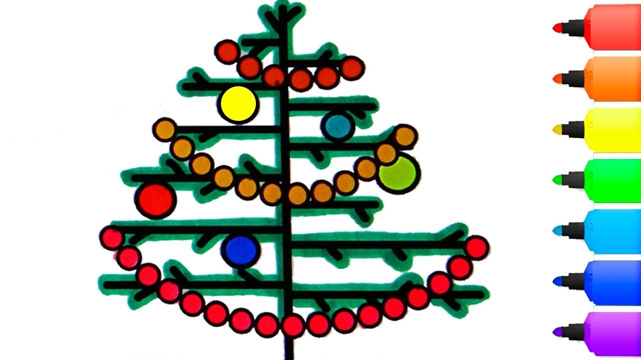 Christmas tree Coloring Pages 🎄 How to Draw a christmas tree ...