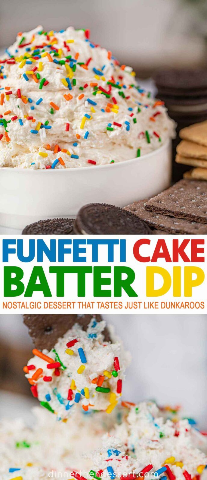 Funfetti Cake Batter Dip is an easy, nostalgic dessert dip made with cake mix, vanilla yogurt, Cool Whip, and sprinkles and it tastes just like Dunkaroos! #funfettidip #cakebatterdip #dessertdip #dunkaroodip #dunkaroos #dessert #dinnerthendessert #vanillayogurt