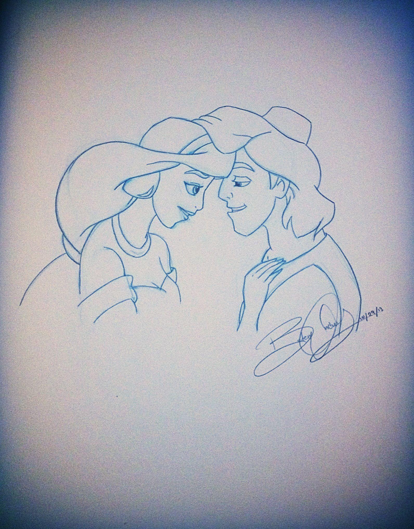 Disney couples sketch aladdin and jasmine disney drawing disney art disney artist artwork art sketching sketch disney princess aladdin jasmine