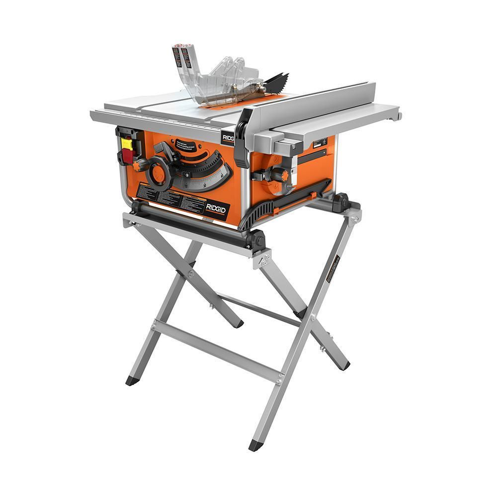 Compact Portable Table Saw 15 Amp 10 In Dual Locking Rip Fence W Folding Stand Ridgid Portable Table Saw Best Table Saw Diy Table Saw