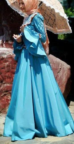 http://abayatrade.com muslim fashion magazine  #Hijab Blue Gown. Perfect Muslim Wedding