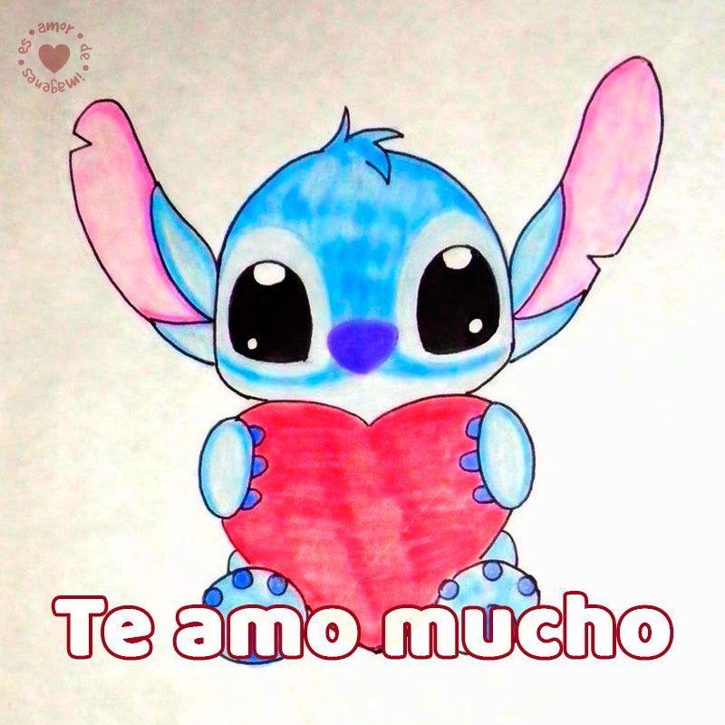 Bonito Dibujo A Mano De Stitch Con Frase Te Amo Mucho Amor De