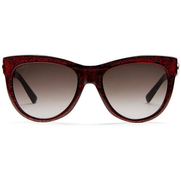 65872a2b89c Gucci Cat-Eye Glitter Sunglasses ( 405) ❤ liked on Polyvore featuring  accessories