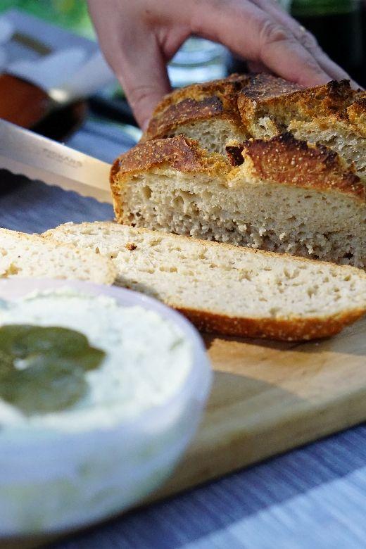 No knead bread with yoghurt pesto spread