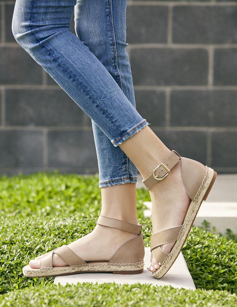 da1d934c8 Taupe espadrille sandal with crisscross straps