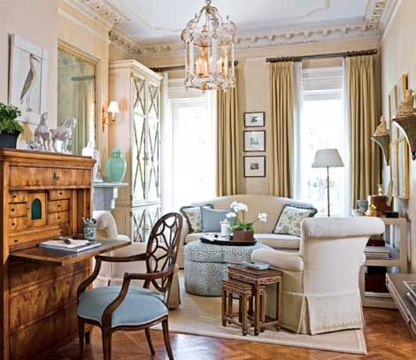 Traditional Home Blue Sitting Room That Is Decorated In Cream Powder And