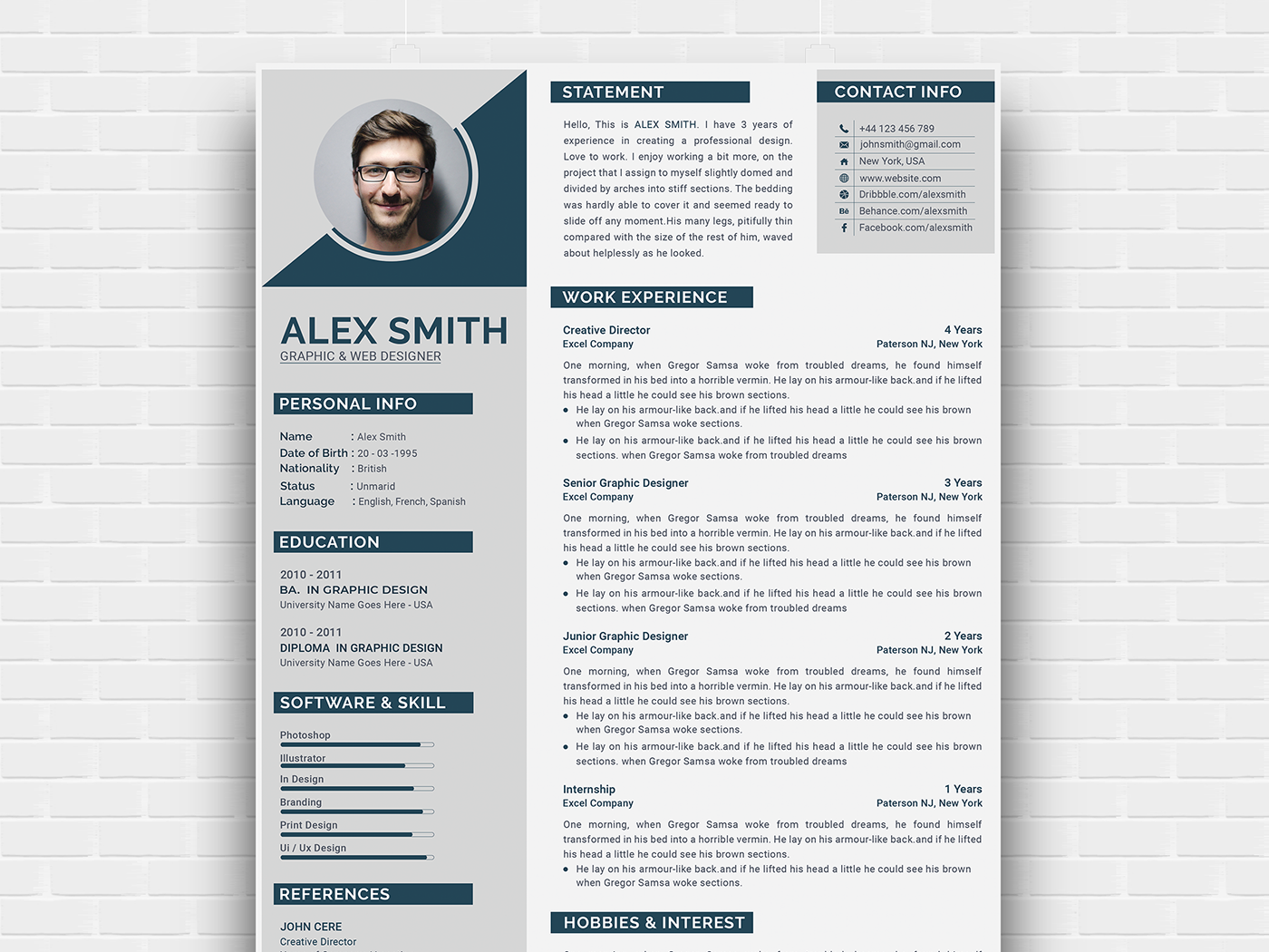 Free Modern Curriculum Vitae Template (With images