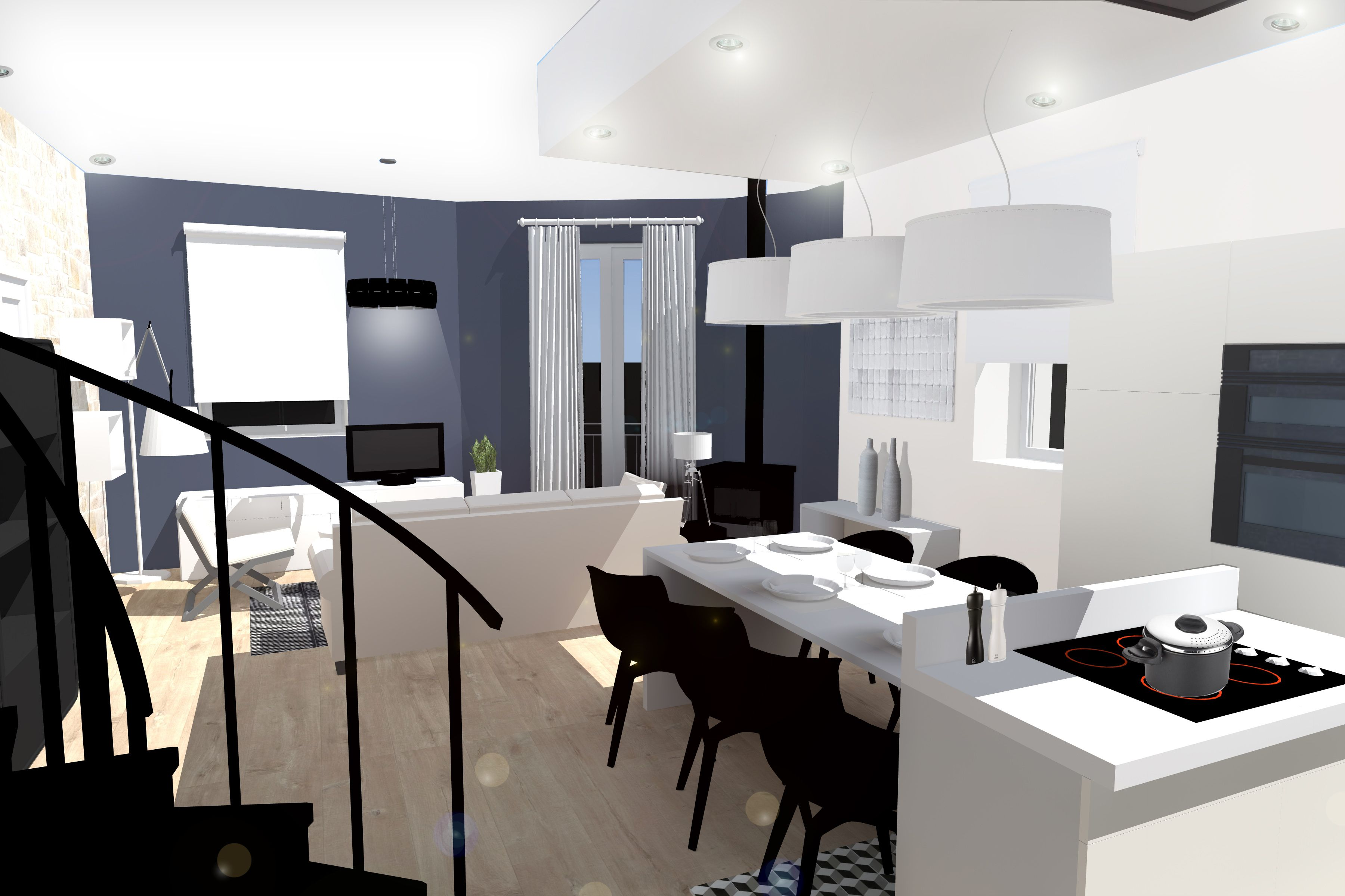 Appartement esprit loft am nagement et d coration par for Amenagement salon cuisine ouverte 35m2