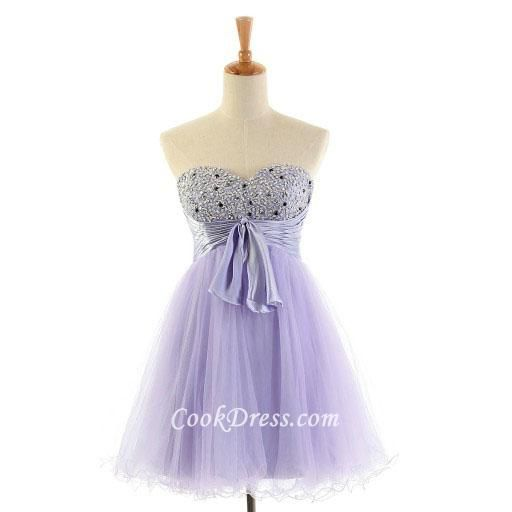 Pretty Lilac Purple Strapless Sweetheart Short Tulle Cocktail Dress