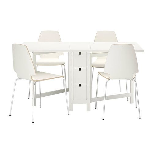 NORDEN / VILMAR Table And 4 Chairs IKEA Table With Drop Leaves Seats 2