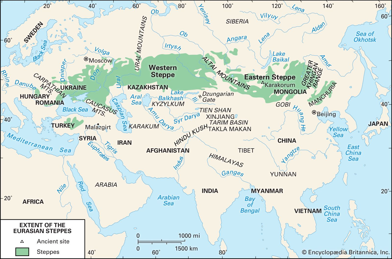 Extent Of The Eurasian Steppes