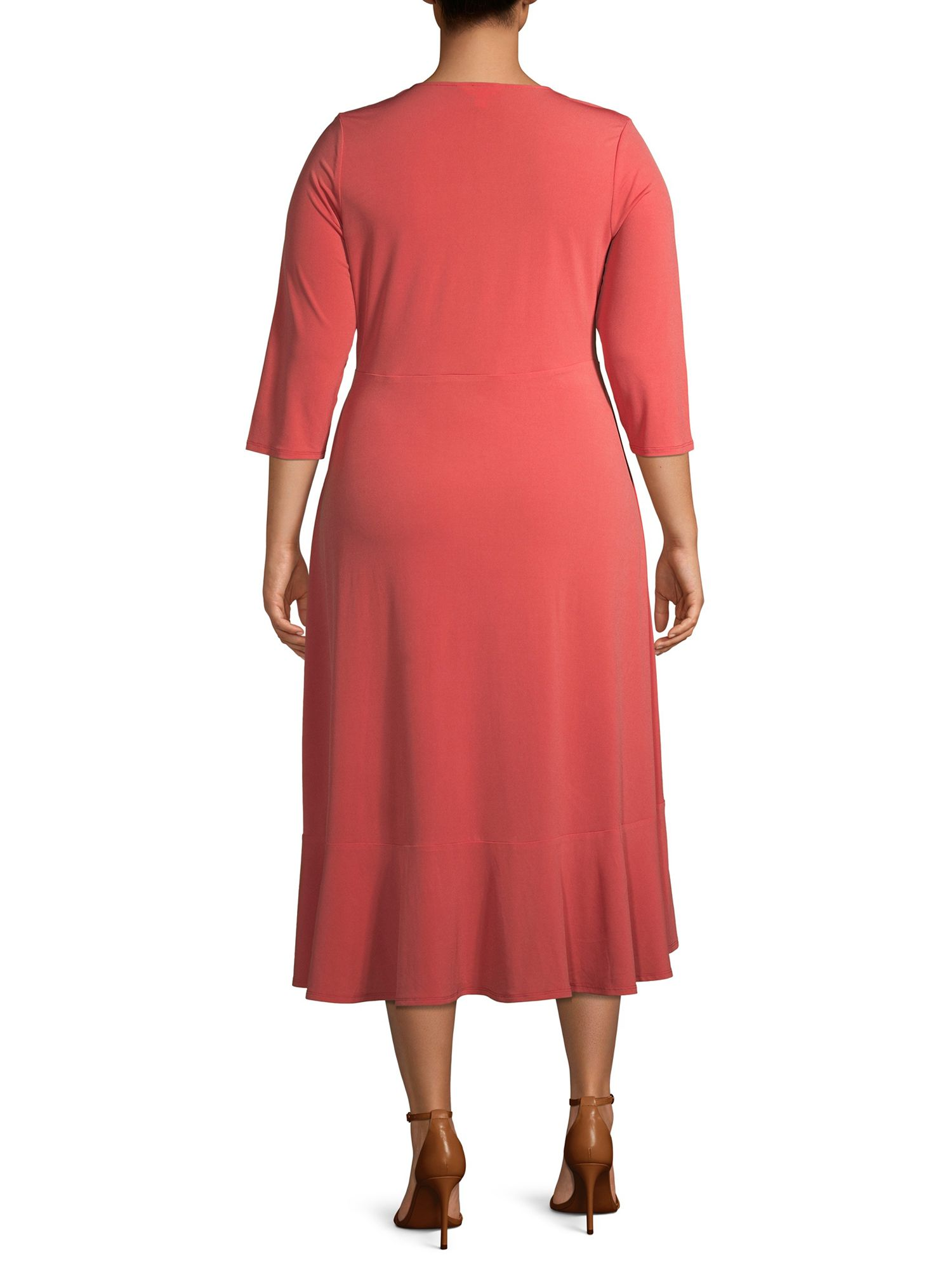 Terra Sky Terra Sky Women S Plus Size Solid Wrap Dress With Ruffle Detail Walmart Com Belted Midi Dress Fit And Flare Dress Dresses [ 2000 x 1500 Pixel ]