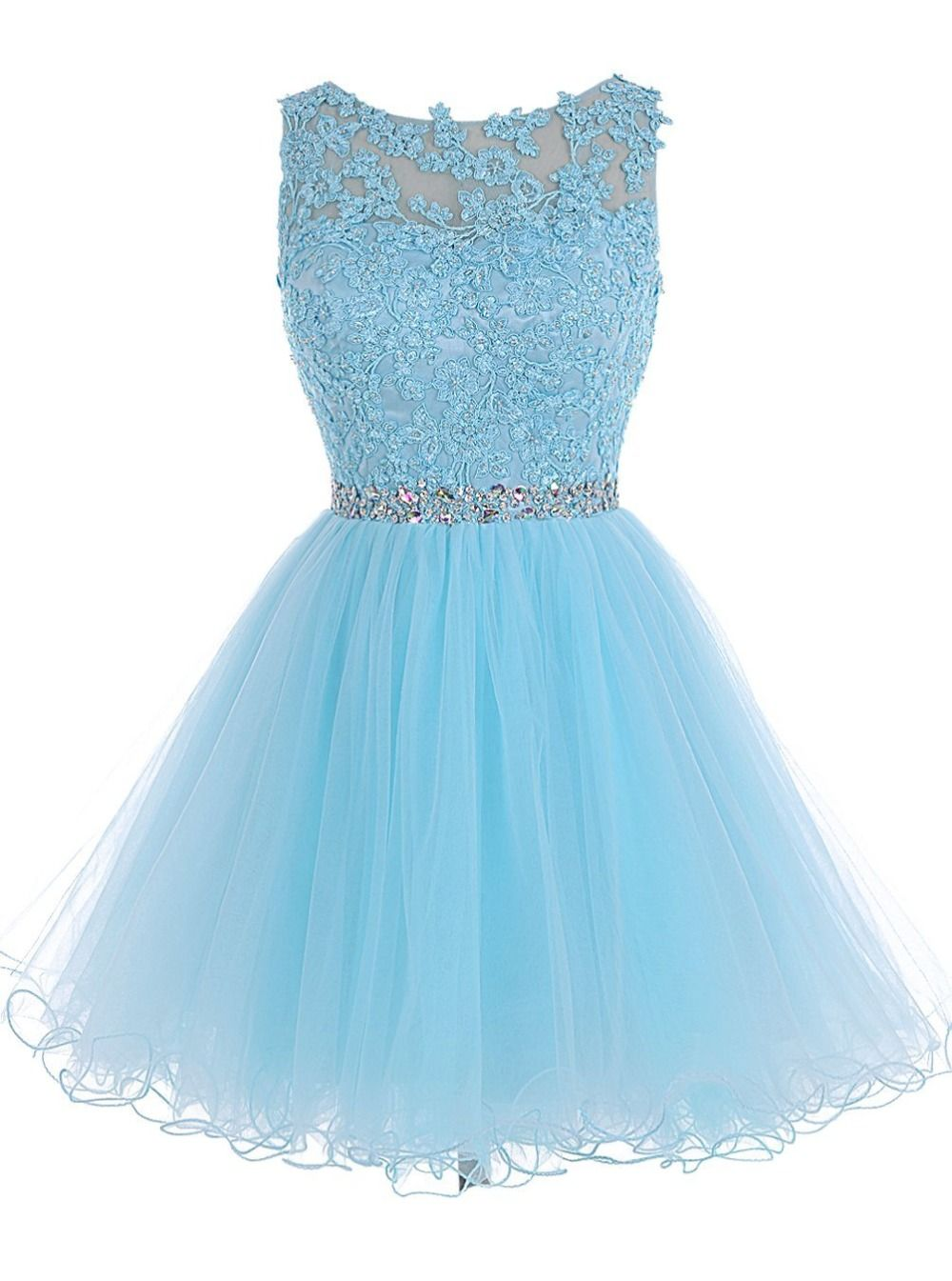 Sweet 16 Short Party Dresses Boat Neck Backless Tulle Puffy Prom ...